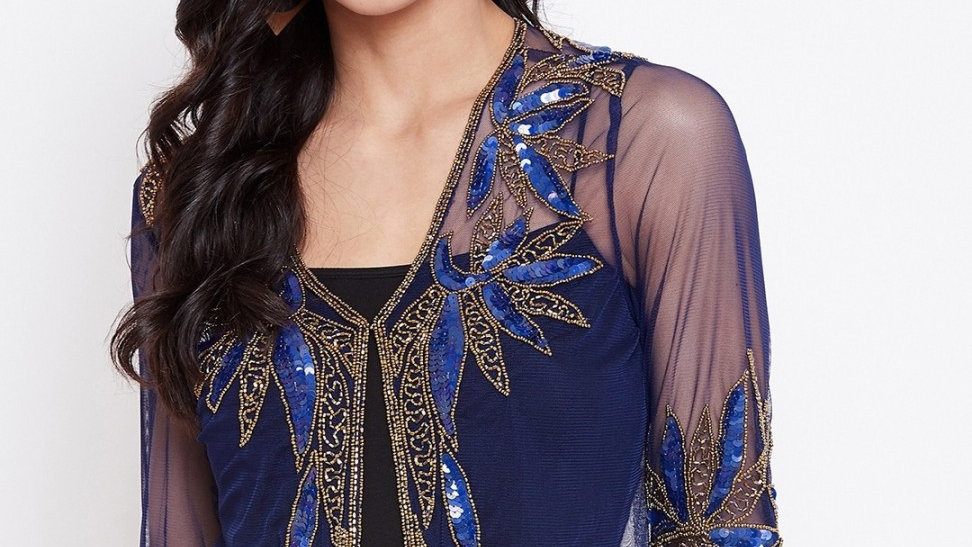 Women Straight 3/4 Sleeve Dark Blue Shrug