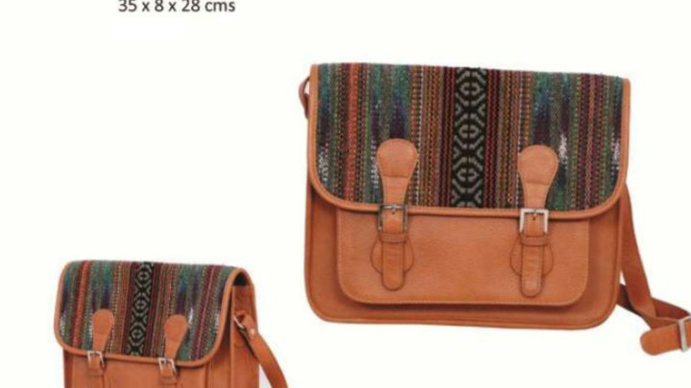 Adviktion Leather & Handloom Bag