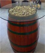 Glasstop Wine Barrel Table - Colored Bands