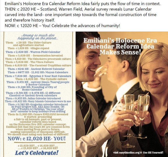 02000 HE calendar timeline with champagn