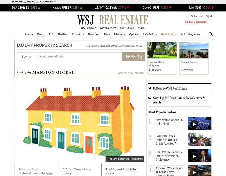 WSJ Mansions Sponsored Advertising