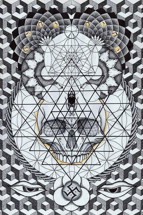 Sacred Geometry Skull High Quality Print