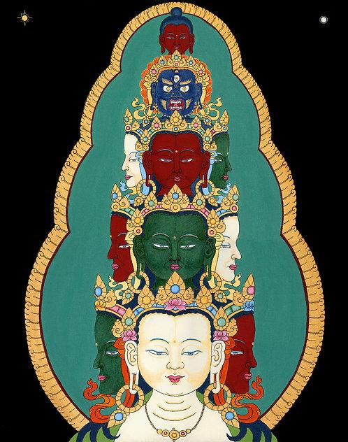 Avalokiteshvara's Eleven Heads High Quality Print