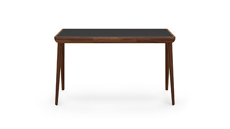 Maya Desk Walnut Black Leather