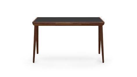 Maya Desk Walnut Black Leather