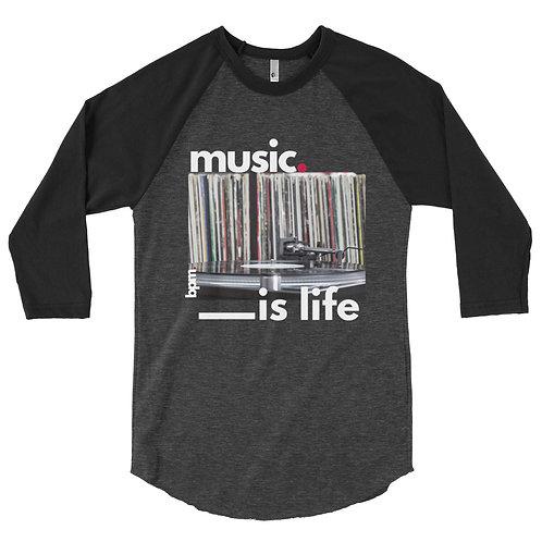 BPM Music is Life 3/4 sleeve raglan shirt