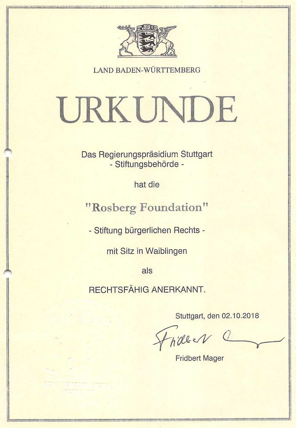 "Stiftungsurkunde ""Rosberg Foundation"""