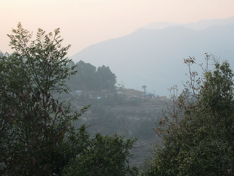view of Thakani with terraced gardens.JP