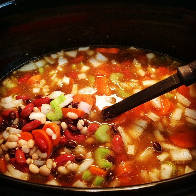Southwestern 3 bean and barley soup