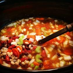 Southwestern 3 bean and barley soup