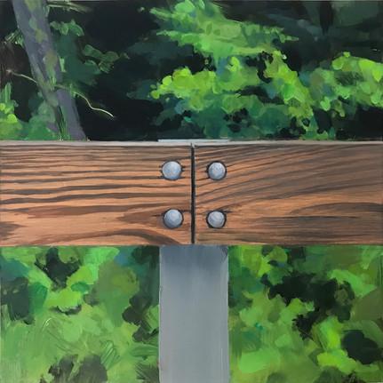 """Guardrail, Brodhead Road I, 10""""x10"""" x 2""""  acrylic on cradled board"""