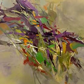 """hedgerow study II, acrylic on yupo paper, mounted on panel, 12"""" x 12"""""""