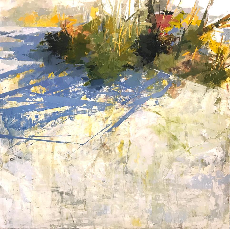 """Winter Hedge, acrylic on panel, 30"""" x 30"""""""