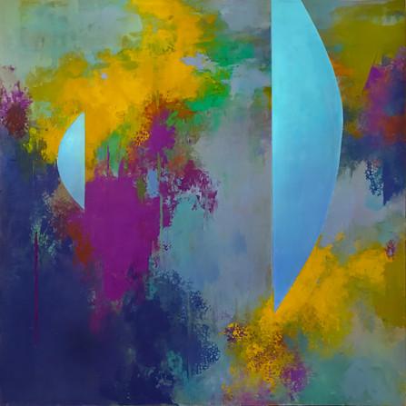 "TerraINfirma/Great Barrier Reef, acrylic on panel, 30""x30"""