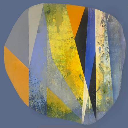 "Geometric Spill 3, acrylic on cradled panel 10"" x 10"" x1"""