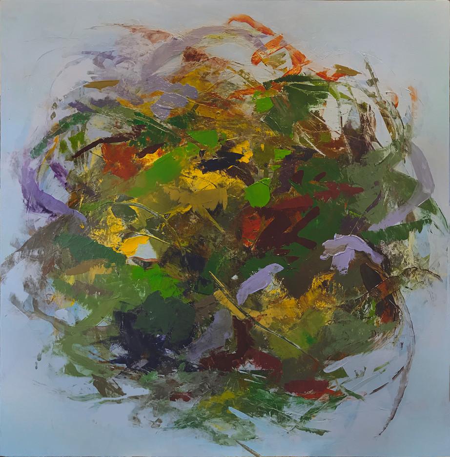 """Hedgerow Earth III, 16"""" x 16"""" acrylic on deep box panel"""