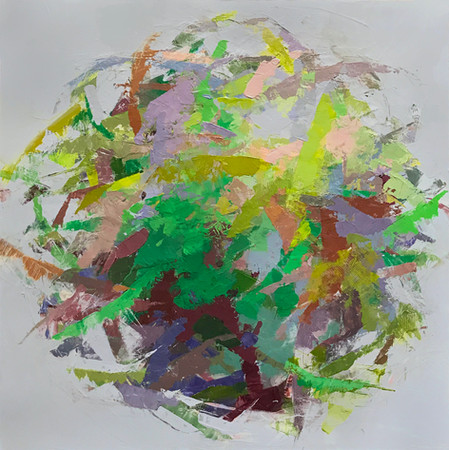 "Hedgerow Earth I, 16"" x 16"" acrylic on deep box panel"