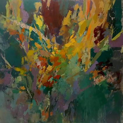 "Late Autumn, 2020, acrylic on panel, 24""x24"""