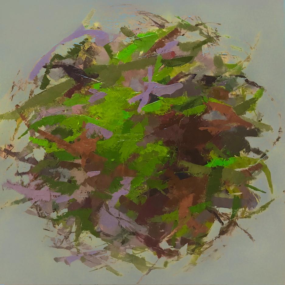 """Hedgerow Earth II, 16"""" x 16"""" acrylic on deep box panel"""