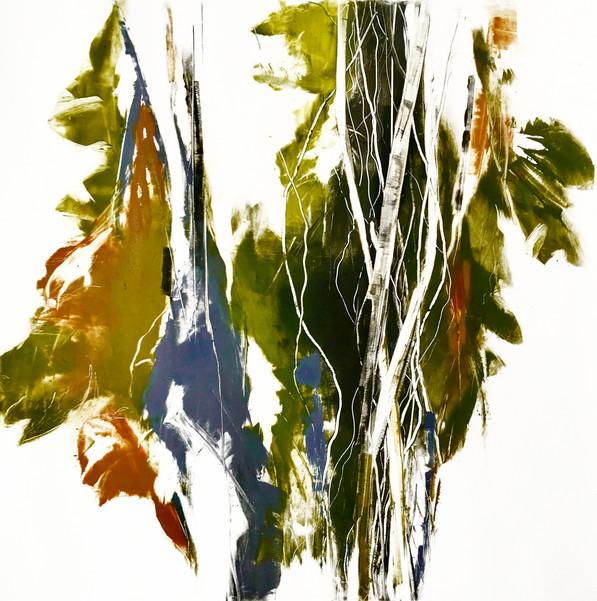 "Malka'i IV, monotype on BFK Rives paper, 16x16"""