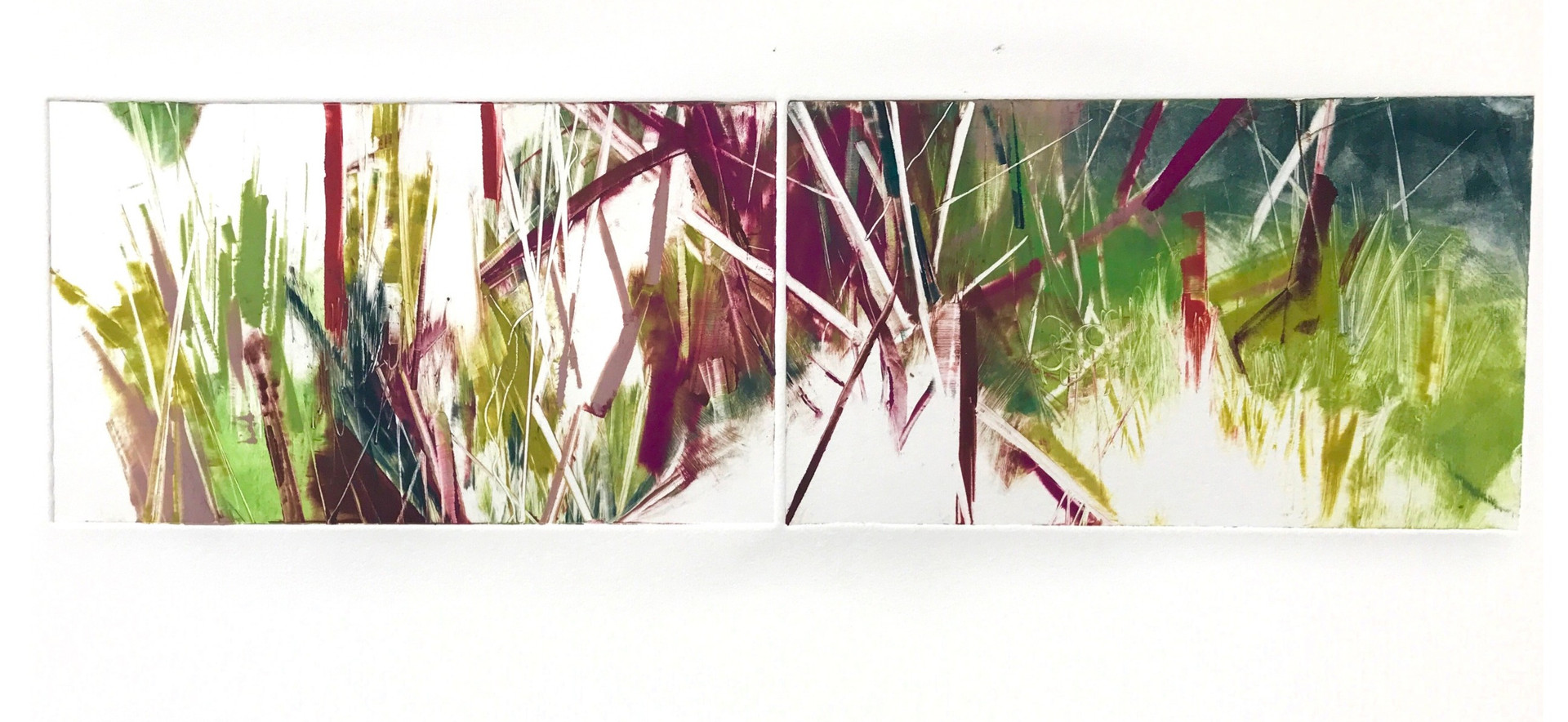 """field geometry/diptych, 6""""x 21"""" monotype on BFK Rives"""