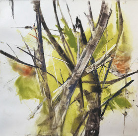 """Tree study, monotype on BFK Rives paper, 12x12"""""""