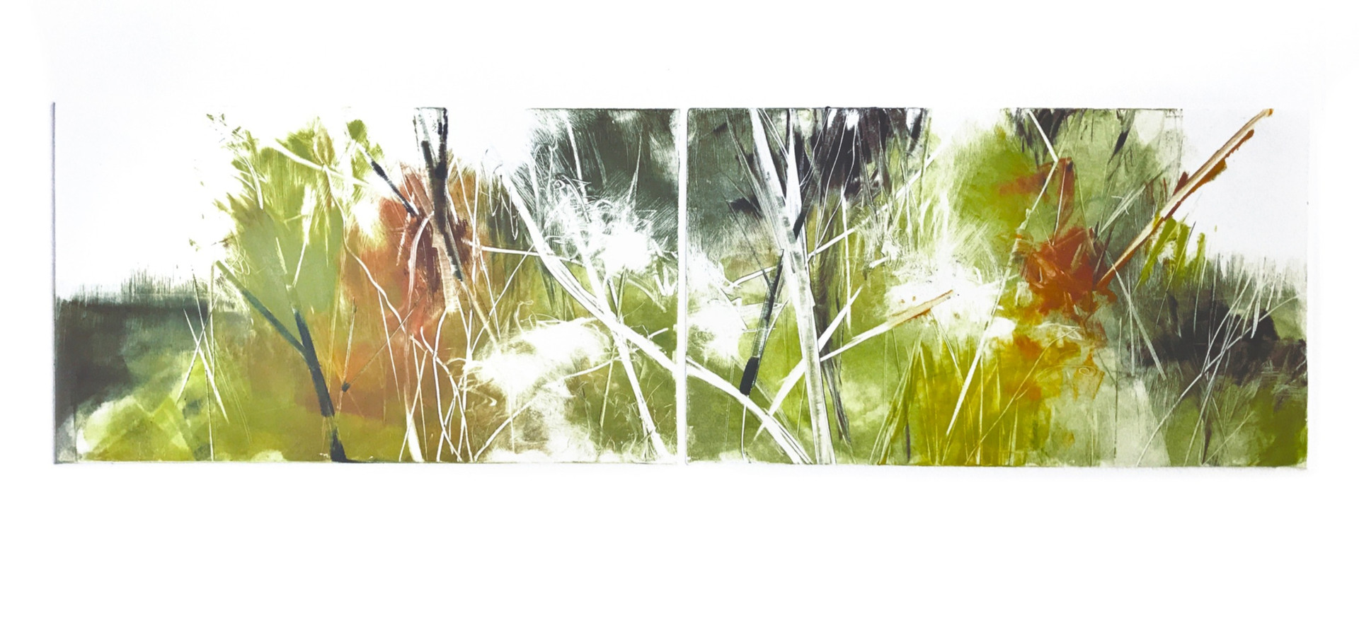 """Hedgerow dipytch II, 6"""" x 21"""" monotype on BFK Rives"""