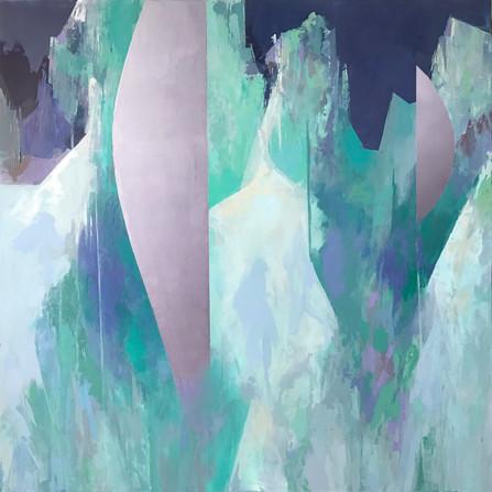 "TerraINfirma/Iceland, acrylic on panel, 30""x30"""