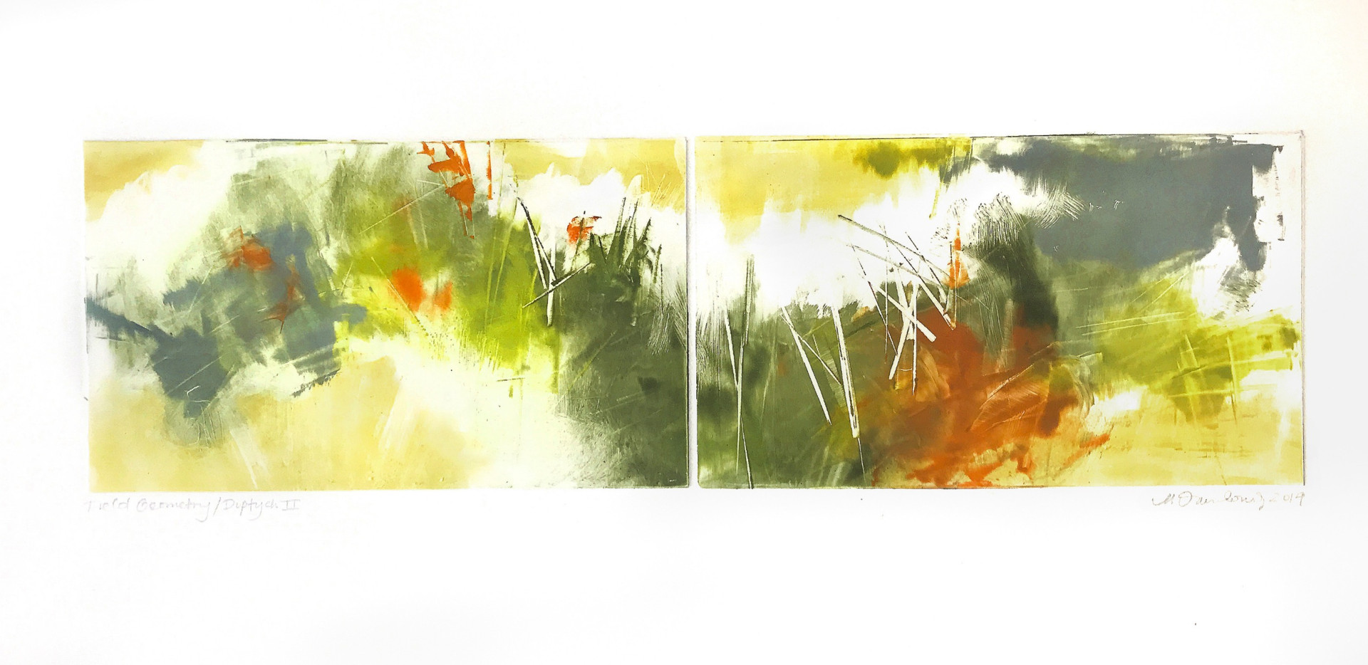 "field geometry/diptych II, 6""x 21"" monotype on BFK Rives"