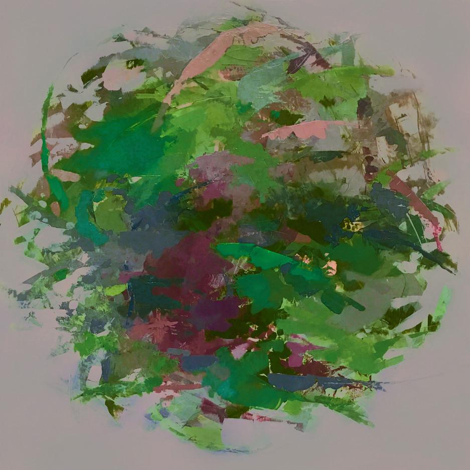 "Hedgerow Earth IV, 16"" x 16"" acrylic on deep box panel"