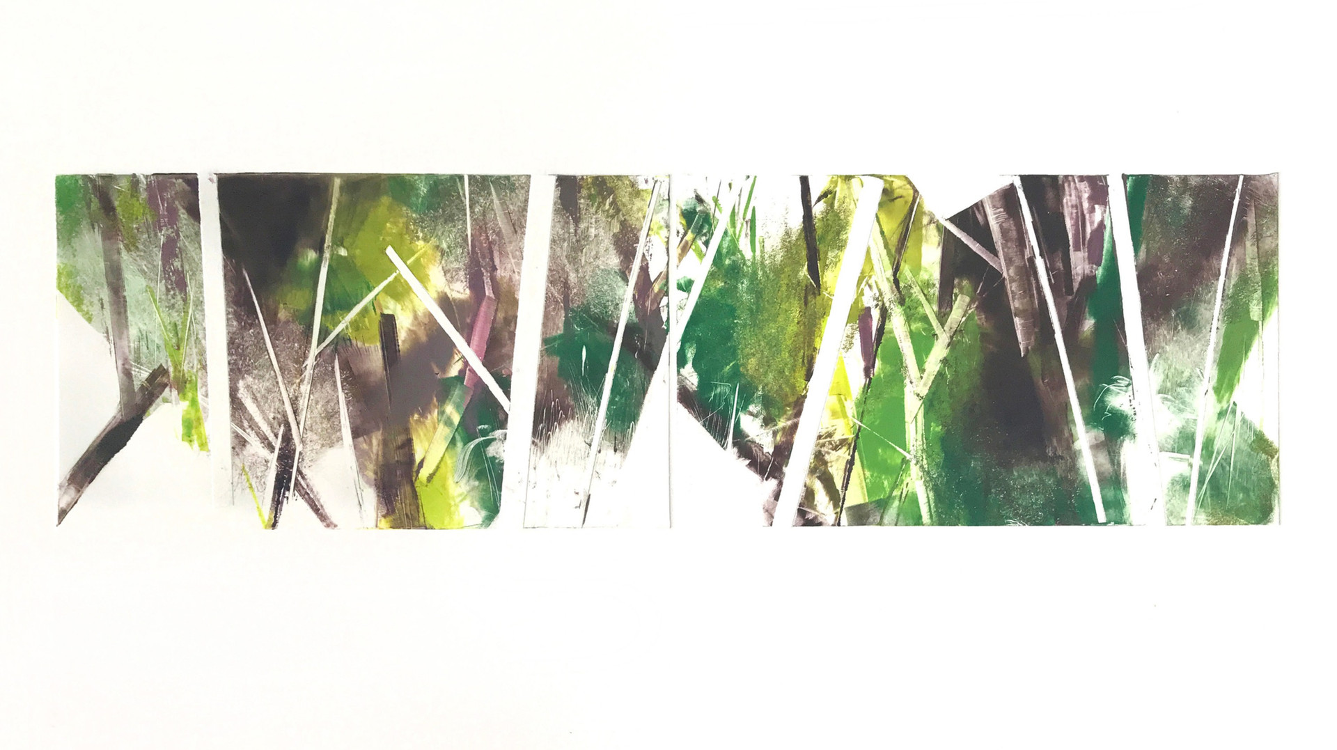 "field geometry/diptych III, 6""x 21"" monotype on BFK Rives"