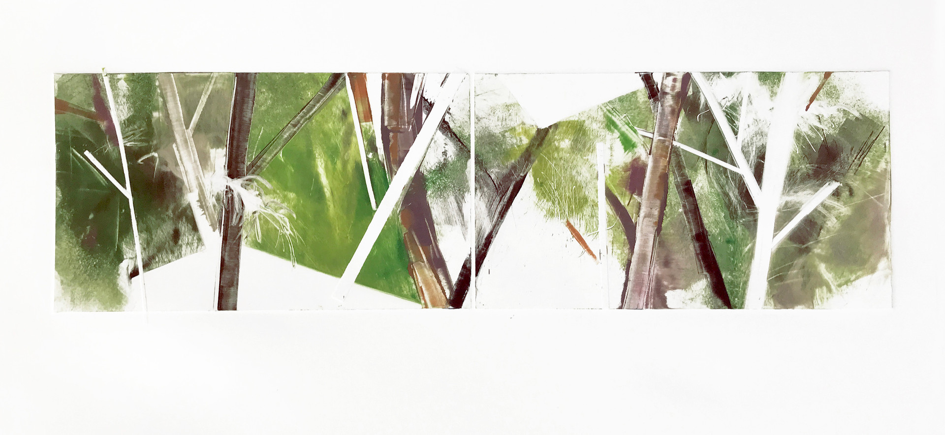 """field geometry/diptych IV, 6""""x 21"""" monotype on BFK Rives"""
