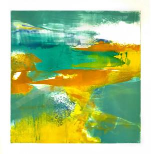 """Terra INfirma/Great Barrier Reef/Study VI, monotype, 16"""" x 16"""""""