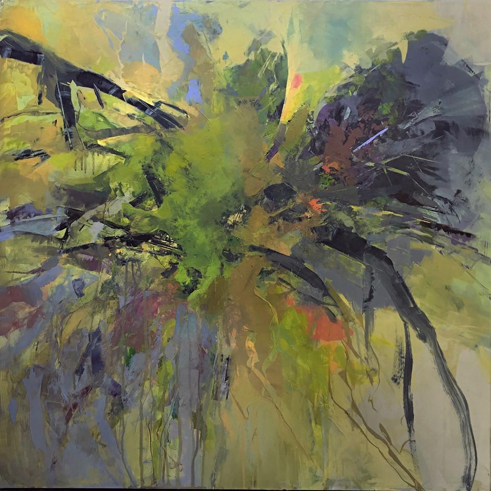 """Wild Vine, acrylic on panel, 30""""x 30"""""""