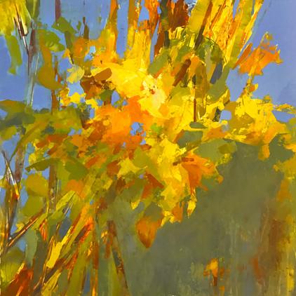 "Early Autumn, 2020, acrylic on yupo, 24""x24"""