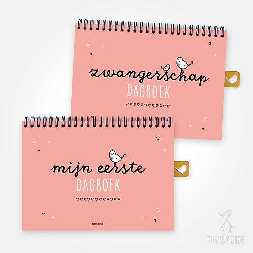 SET - zwangerschapsdagboek & mijn eerste dagboek | Roze