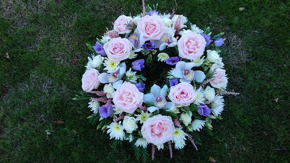 Open Wreath in seasonal flowers