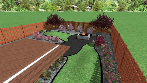 3D Design, backyard, sod with granite stone garden beds