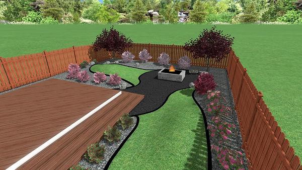3D landscape design, Winnipeg Manitoba, firepit and garden beds