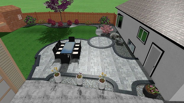 3D landscape design, patio with circular brick inlay,  garden beds, Project completed in Winnipeg, Manitoba.
