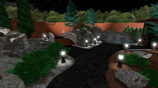 3D landscape design night view, landscape lighting