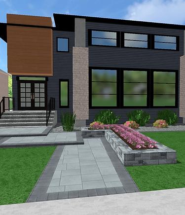 Modern front yard design, grand front entrance