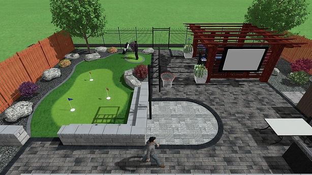 3D landscape design Winnipeg, artificial turf putting green, basketball court, and pergola