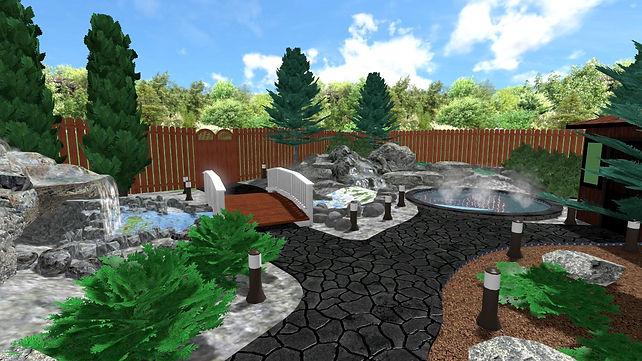 3D Design, beautiful backyard spa with waterfalls, waterfall stream, hot tub, sauna.