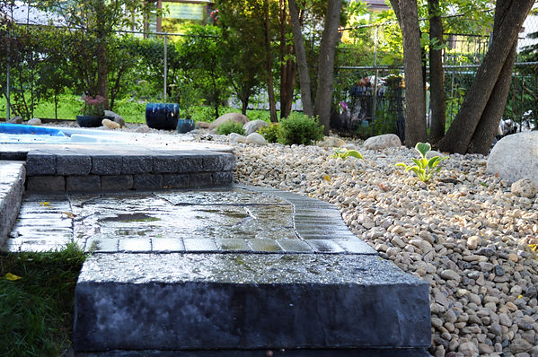 Barkman slabs leading to pool deck. Project was completed in Winnipeg, Manitoba.