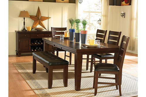 5Pc Emeillia Dining Table W/ 4 Chairs