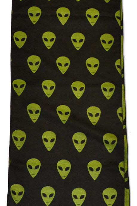 """BLACK AND GREEN CASHMERE SCARF ALIEN LIKE 12"""" X 72"""""""