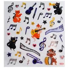 Enjoy these musical dogs and cats stickers mixed with musical notes.