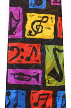 Colorful Music Notes with Instruments Tie