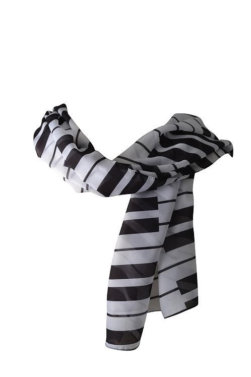 CHIFFON BLACK/WHITE SCARF (21 inches X 60 inches)